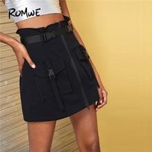 цена на ROMWE Dual Pocket Zip Front Black Skirt Women Bomber Mid Waist Summer Autumn Mini Skirt Streetwear Boylish ALine Short Skirt