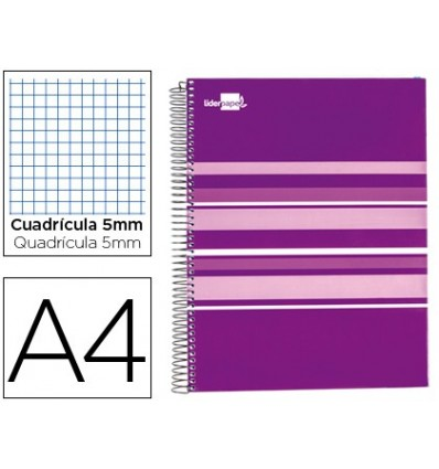 SPIRAL NOTEBOOK LEADERPAPER A4 MICRO CLASSIC LINED TOP 160H 60 GR TABLE 5MM 5 BANDS 4 DRILLS PURPLE