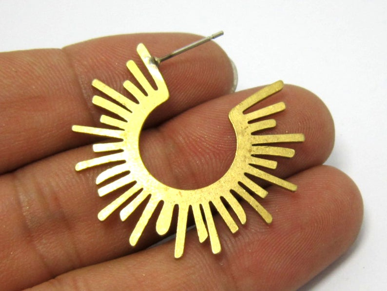 Brass Earrings Post 34mm Sun Shaped Raw Brass Earring Stud With Steel Needle R594