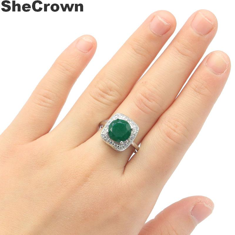 15x15mm SheCrown Beautiful Real Green Emerald White CZ Gift For Sister Silver Rings