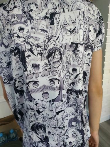 Ahegao T-shirt Anime 3D Print Men Women Streetwear Hentai Pattern O-Neck Hip Hop T Shirt Harajuku Casual Tops Sexy Girl Clothing photo review