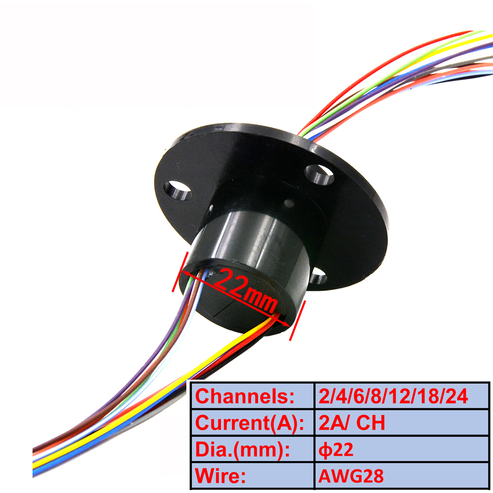 Electric Slip Ring 22mm 2/4/6/8/12/18/24 Channel 2A Slip Ring Rotary Joint