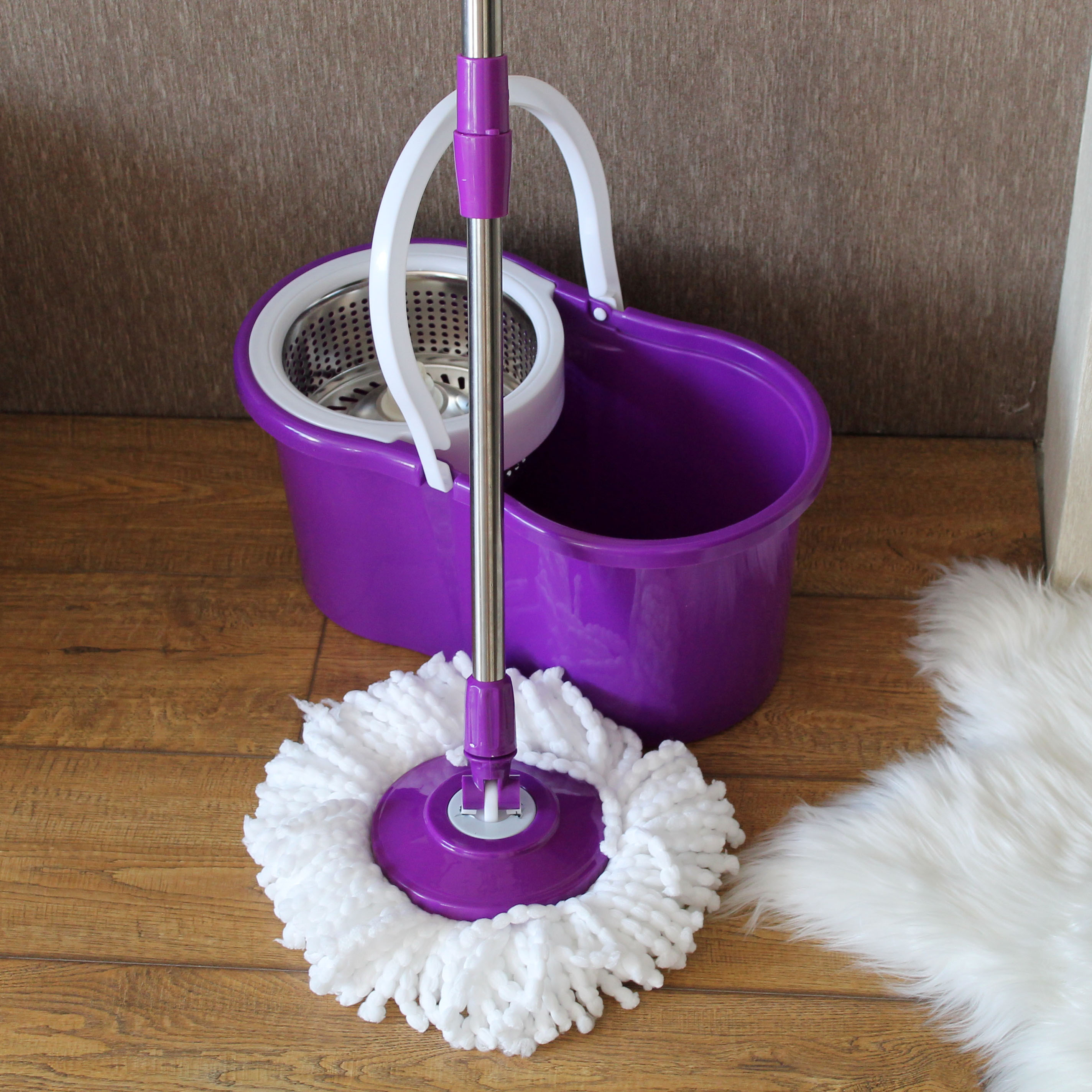 SOKOLTEC Mop Bucket Hand Free Wringing Stainless Steel Mop Self Wet And Cleaning System Dry Cleaning Microfiber Mop Spin Floor-in Mops from Home & Garden on AliExpress