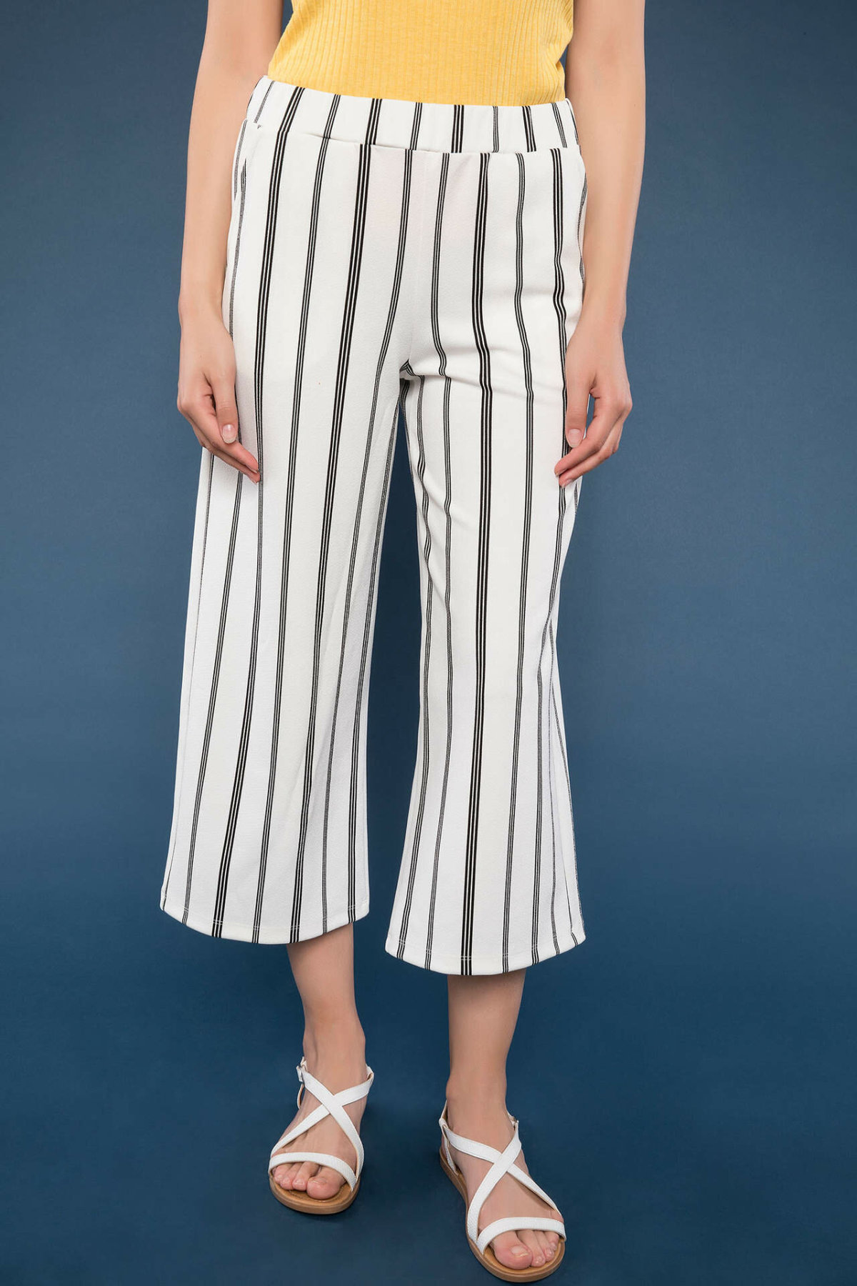 DeFacto Woman Summer Striped Wide Leg Pants Women Casual Loose Ninth Pants Women Breathbale Bottoms Trousers-J7935AZ18HS