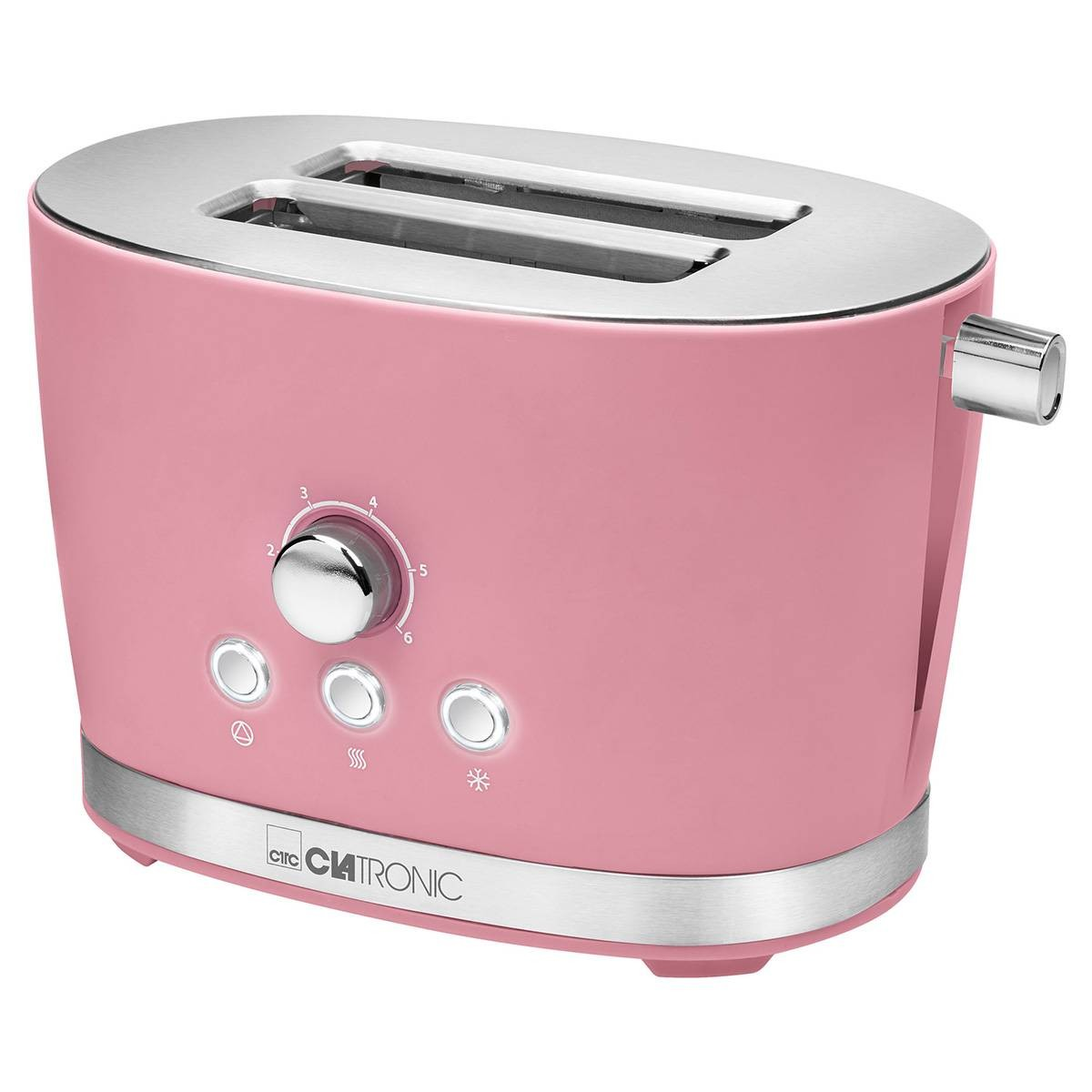 Clatronic TA 3690 Toaster Pan 2 Slots 3 Functional Toast Warm Thaw Roasting Level 850W Retro Vintage Rose