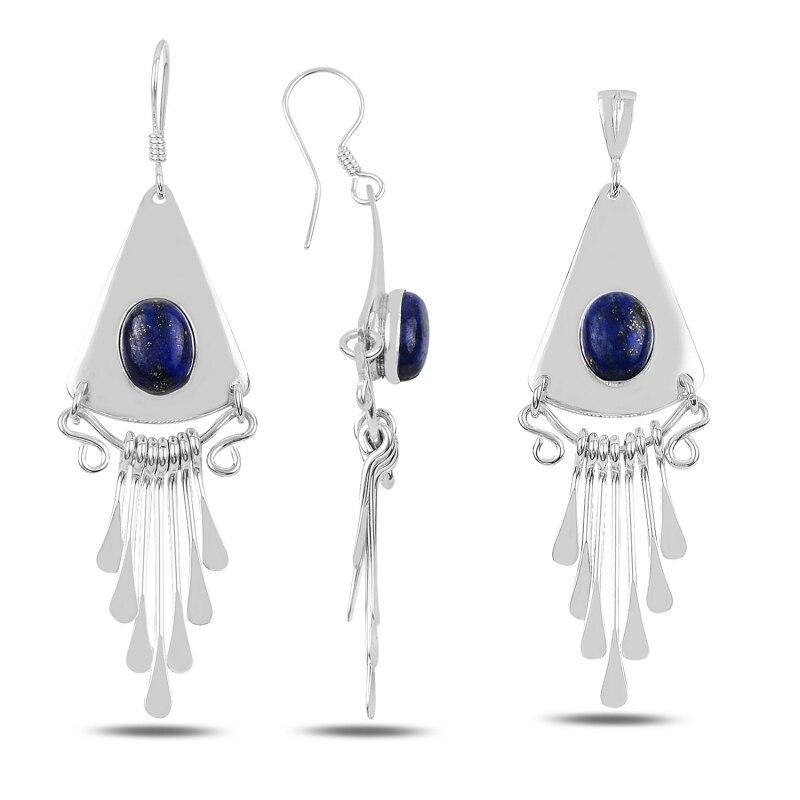 Silver 925 Sterling Lapis Lazuli Stone Handwork Set