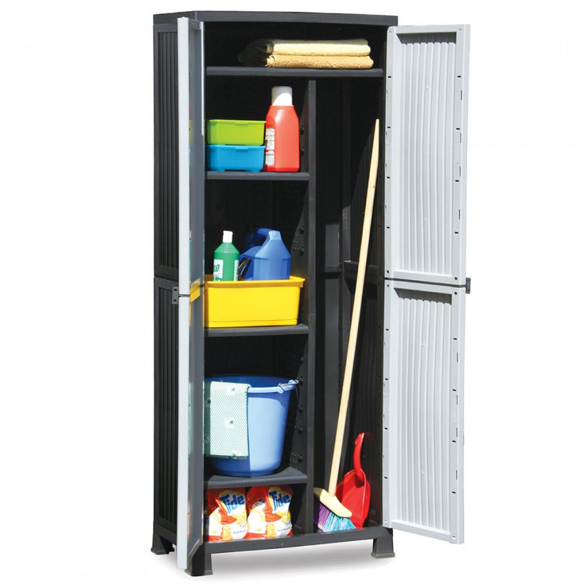 Outdoor Resin Cabinet With Broom And 4 Gray Baldas 171x68x39cm GH91
