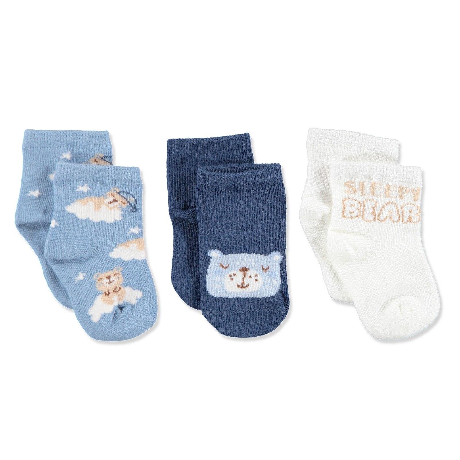 Ebebek Step 3 Pack Baby Socks Sleepy