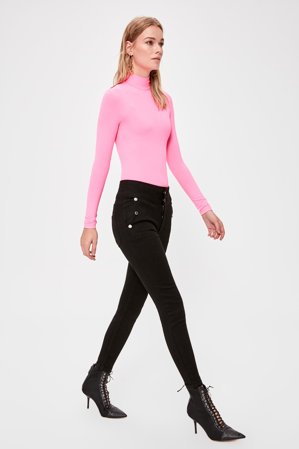 Trendyol Button Detail High Waist Skinny Jeans TWOAW20JE0275