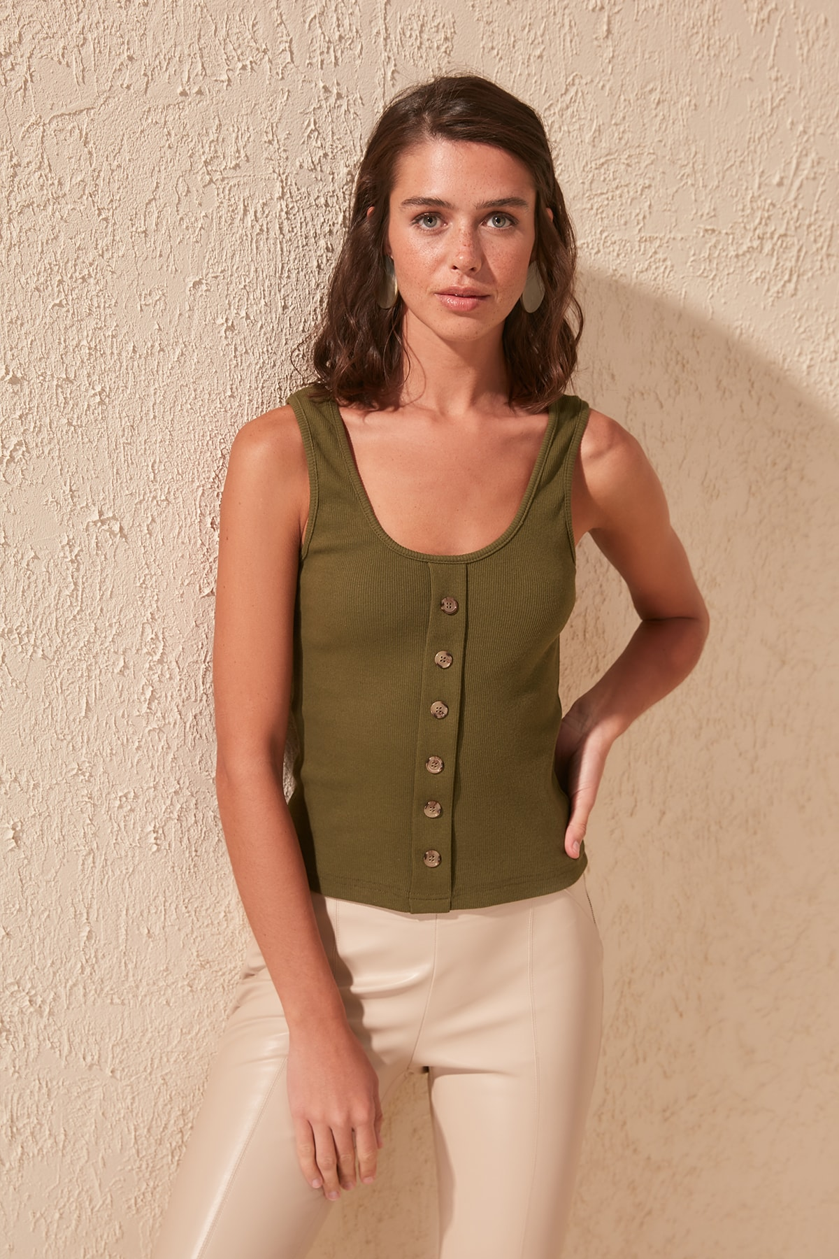 Trendyol Women's Blouse Button Ribbed Knitted Shirt  2020 Women Fashion Blouse TWOSS20BZ0619