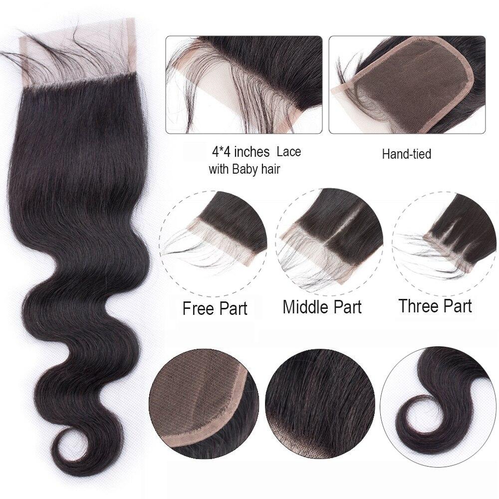 Image 2 - BEAUDIVA Brazilian Hair Body Wave 3 Bundles With Closure Human Hair Bundles With Closure Lace Closure Remy Human Hair Extension-in 3/4 Bundles with Closure from Hair Extensions & Wigs