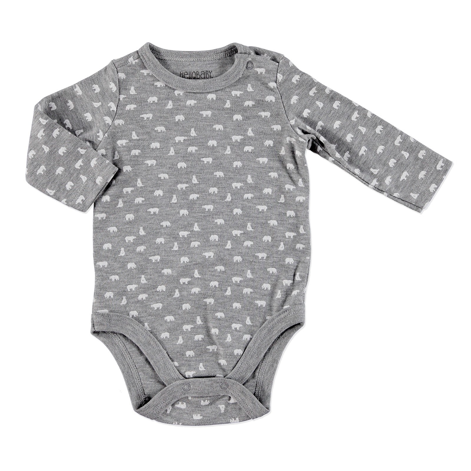 Ebebek HelloBaby Little Cute Paws Bear Printed Baby Long Sleeve Bodysuit