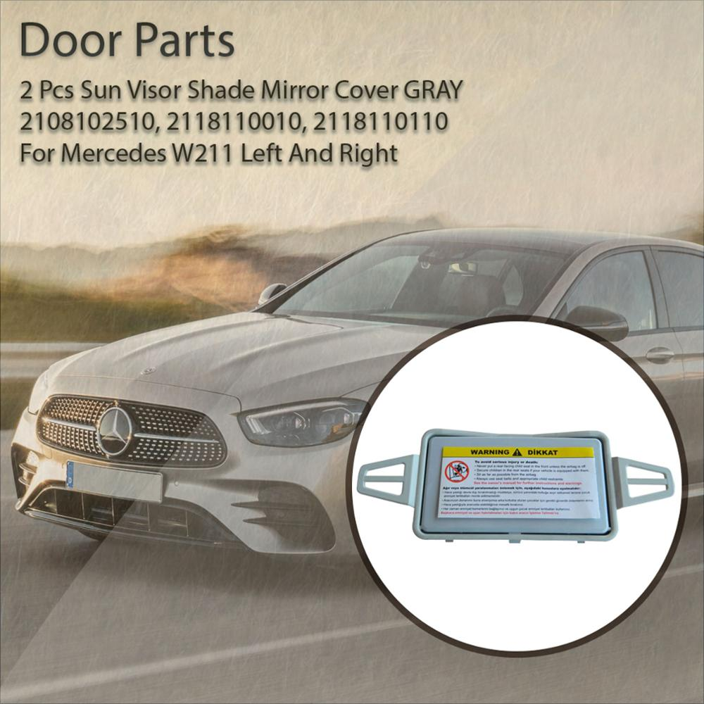 Bross BDP182 2 Pieces Sun Visor Makeup Cosmetic Shade Mirror Cover GRAY 2108102510 For Mercedes <font><b>W211</b></font> E-Class E350 E550 E63 E500 <font><b>E55</b></font> E320 E300 Е320 E430 <font><b>E55</b></font> <font><b>AMG</b></font> Left right image