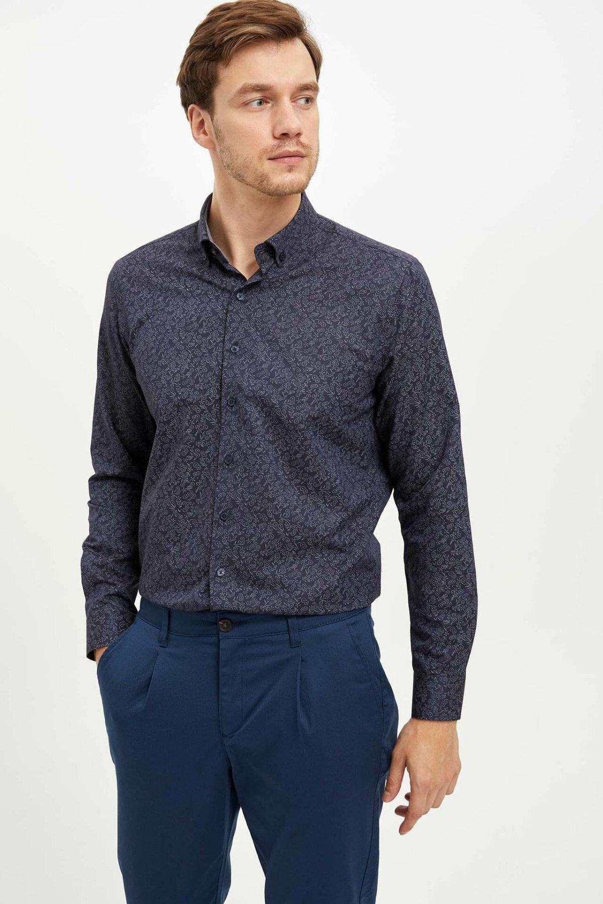 DeFacto Men Simple Shirts Long Sleeve Solid Shirts Mens Casual Lapel Collar Casual Shirt New - L5375AZ19AU-L5375AZ19AU