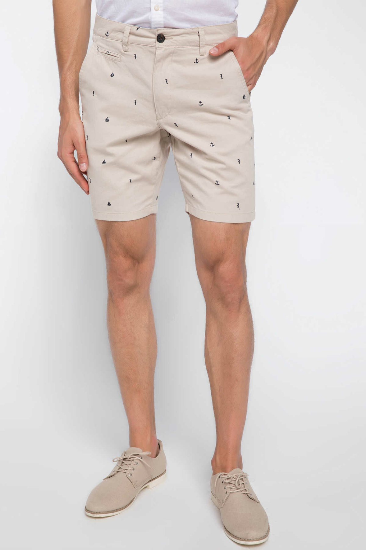 DeFacto Man Summer Casual Shorts Men Mid-waist Bottom Short Male Beige Prints Shorts Pants-I8218AZ18HS