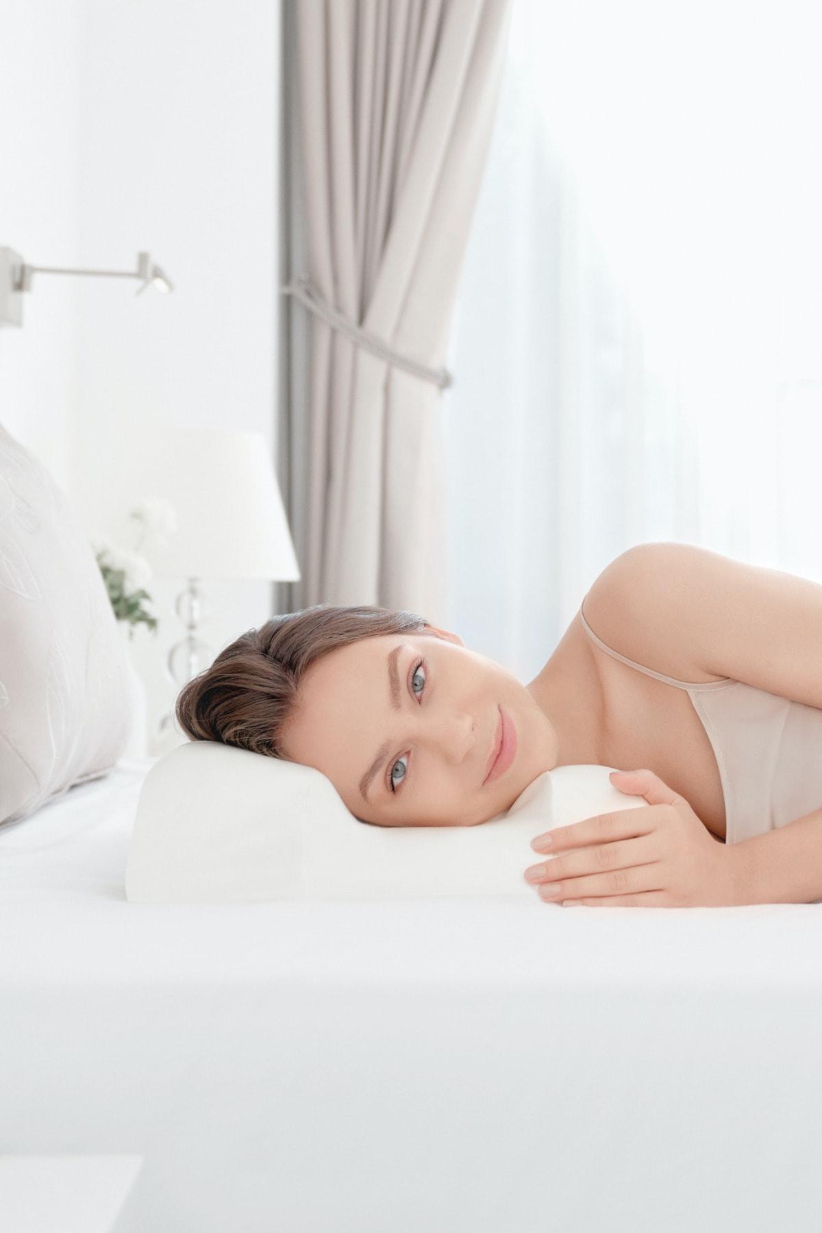 Красота Подушка анти-старения, подушка для шеи Coussin для сна, массажная поролоновая удобные длинные ресницы