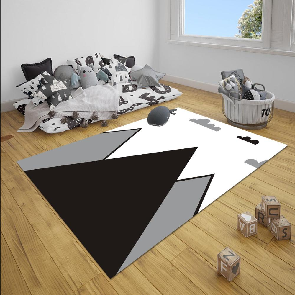 Else Black Gray White Mountain Nordec Unisex 3d Print Non Slip Microfiber Children Baby Kids Room Decorative Area Rug Mat