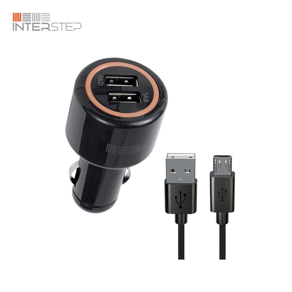 цена на Charger INTERSTEP From Cigarette Lighter Combo: 2Usb + Cable MicroUSB