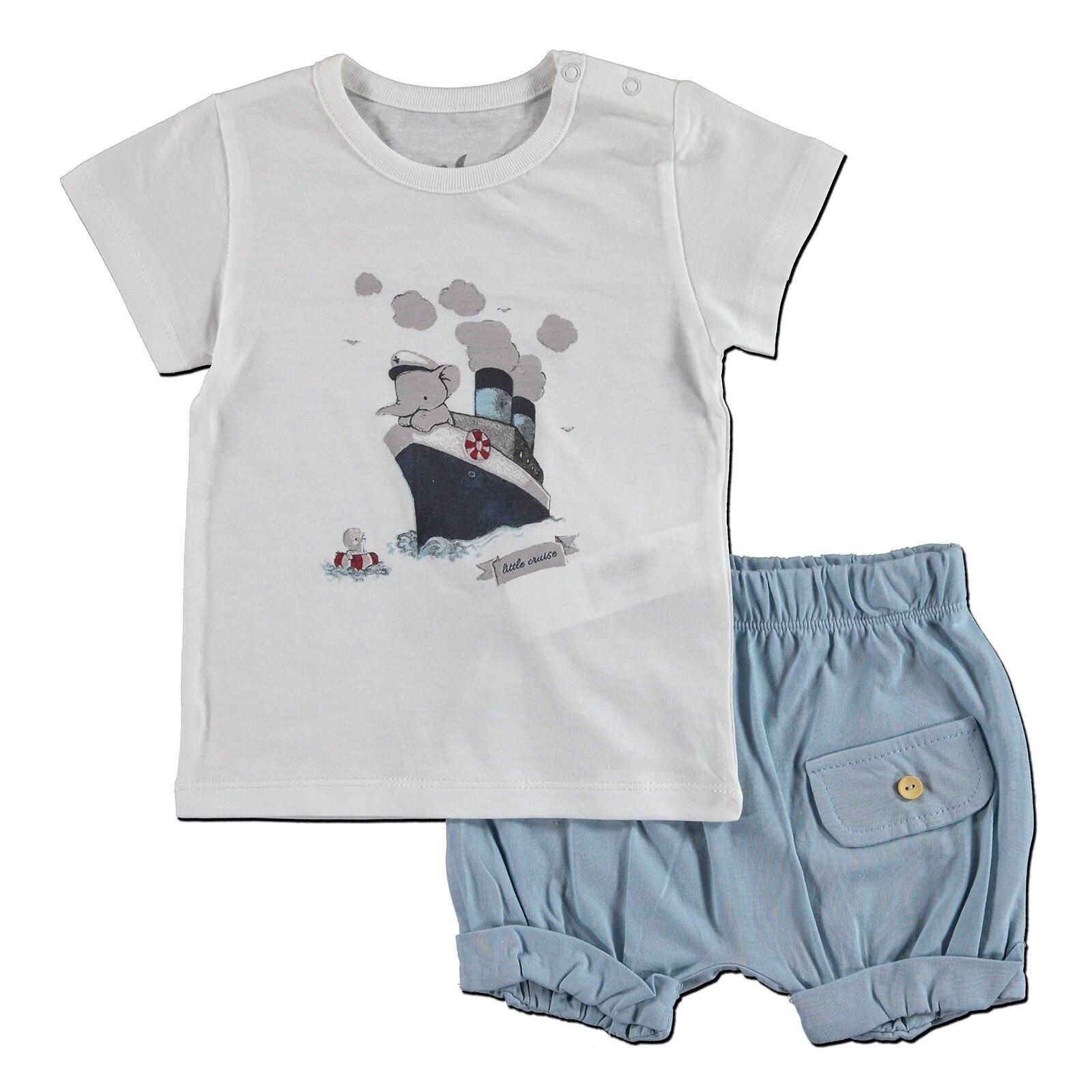Ebebek Newborn Fashion Club Sailor Baby Boy Supreme T-shirt Short 2 Pcs Set