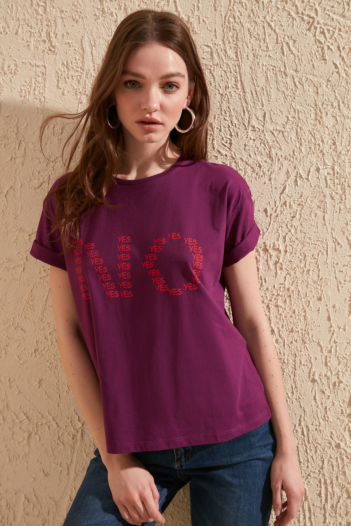 Trendyol Printed Semifitted Knitted T-Shirt TWOSS20TS0112