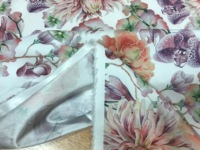 Daisy flower satin fabric. White floral satin. Stretch satin fabric for dress. Purple flower satin fabric