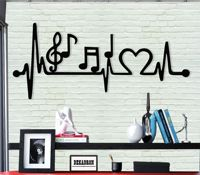 Metal Wall Art, Metal Music Decor, Wall Silhouette, Metal Wall Decor Interior Decoration, Metal Sign, EKG Rhythm Music Love Art