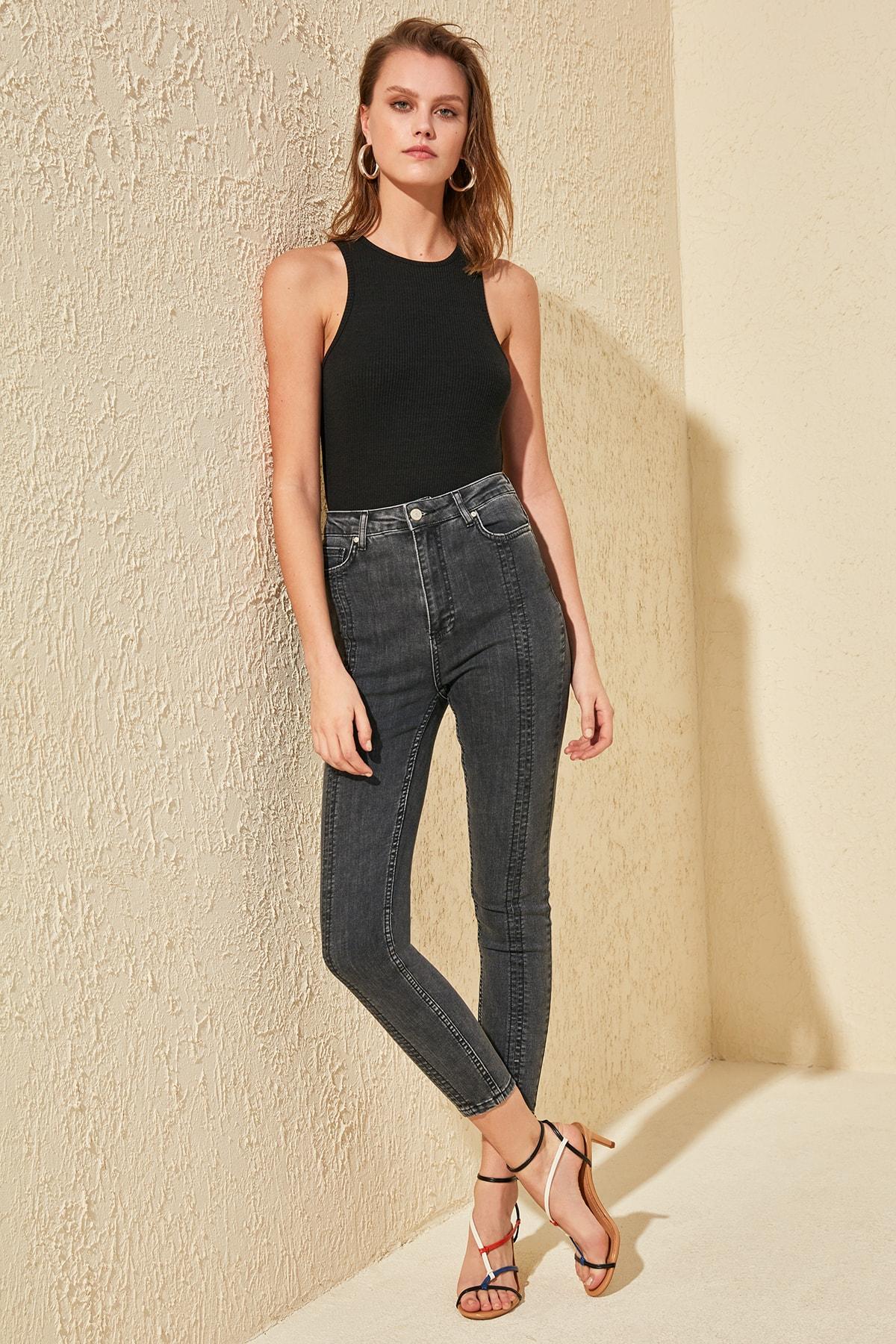 Trendyol Stitch Detail High Waist Skinny Jeans TWOSS20JE0113