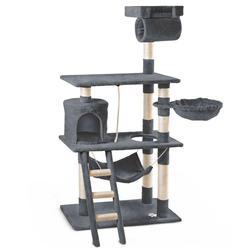 Katze Scratcher hub spiele und erholsamen baum katzen 140cm hohe höhe dark grau farbe mit seite beiträge schaber natürliche sisal