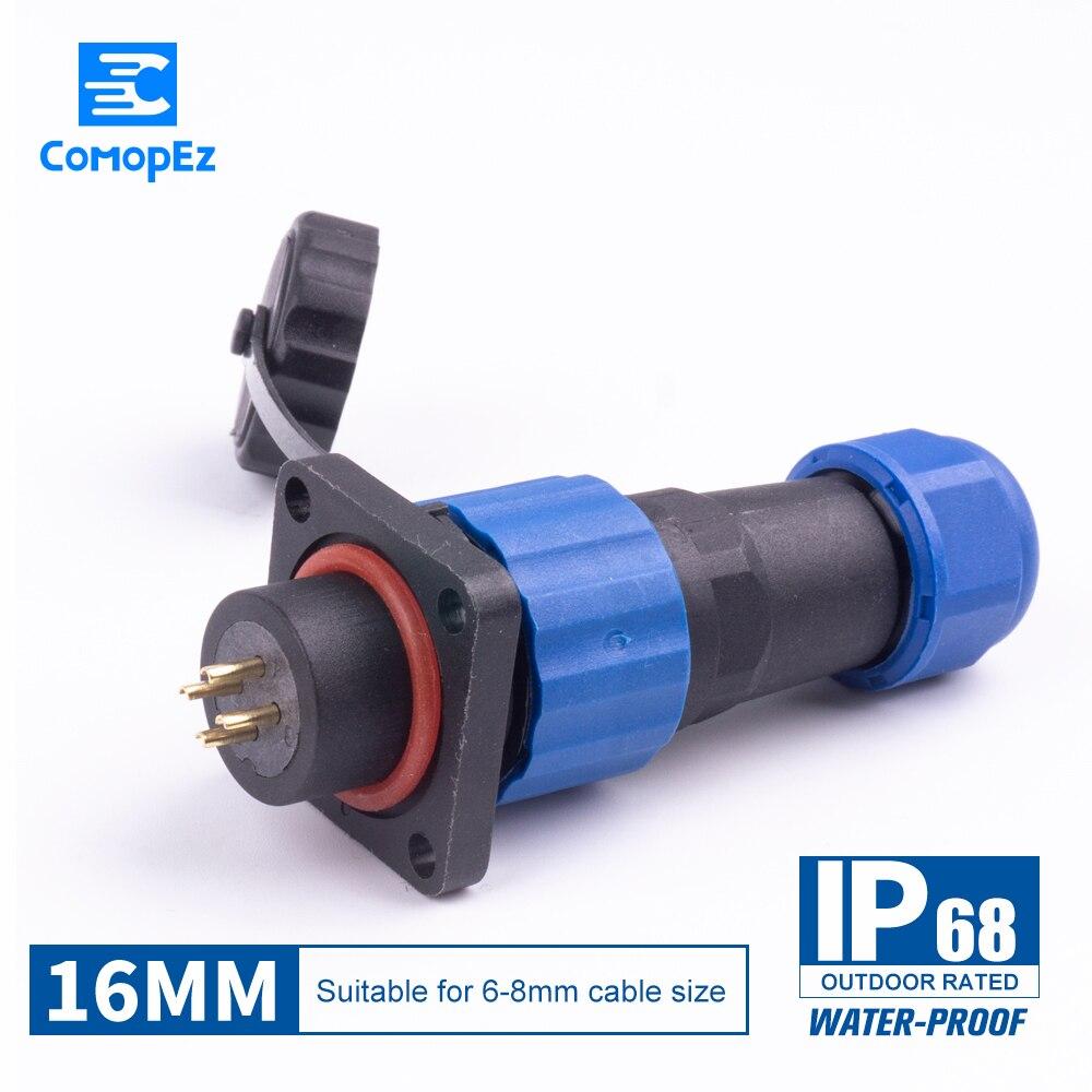 16mm Conector Da Aviação Conector do Cabo de Tipo SP16 IP68 2-3-4-5-6-7-9pin Plug & Tomada Macho E Fêmea Conector À Prova D Água