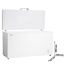 Морозильный ларь AVEX CF-510, обьем 480л, класс А+, 2 корзины, замок, 26кг/сут, сохранение холода до 50ч, зимняя защита, индикация повышения температуры, ножки колесики