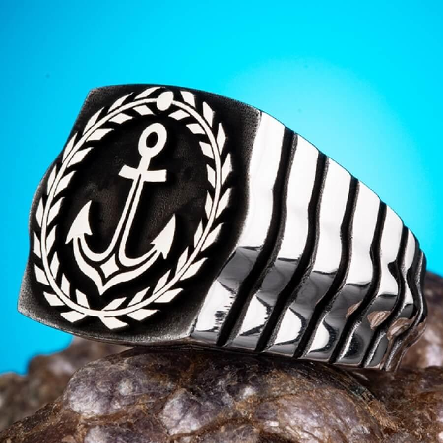 Sailors Anchor Ring 925 Sterling Silver Ring for Men Nautical Anchor Ring