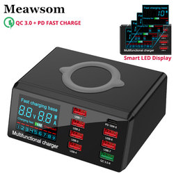 Multi 8 Ports Wireless USB Fast Charger 60W LED Display Quick Charge Fast Charging Dock Station For iPhone Samsung Huawei Xiaomi