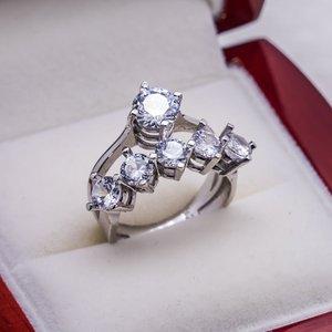 925 пробы обручальное кольцо из серебра с цирконием