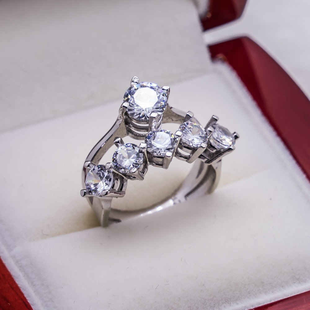 925 sterling silver Zircon Stone Engagement Dibs United Kombin Ring()