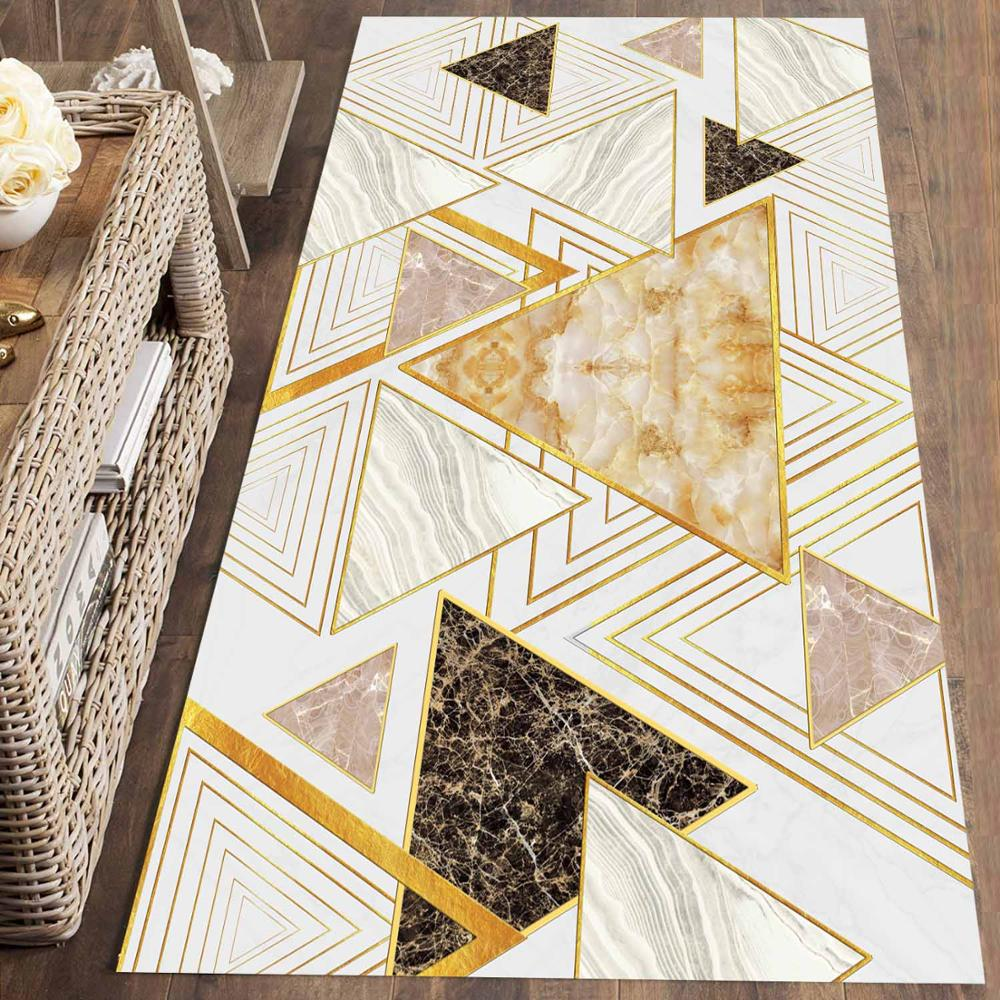 Else Gray Brown Yellow Triangles Geometric 3d Print Non Slip Microfiber Washable Long Runner Mat Floor Mat Rugs Hallway Carpets