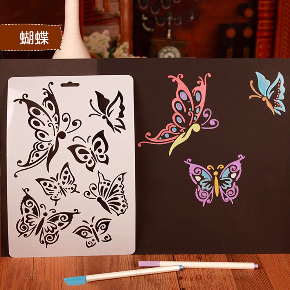 1Pcs Kids Drawing Painting Templates Educational Toys DIY Gift Cards Scrapbooking Dandelion Butterfly Flower Fairy Stencils