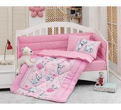 Gemaakt in Turkije KATACHTIGE Baby Baby Crib Beddengoed Set Bumper Voor Jongen Meisje Nursery Cartoon Babybedje Katoen Zachte Antiallergische roze