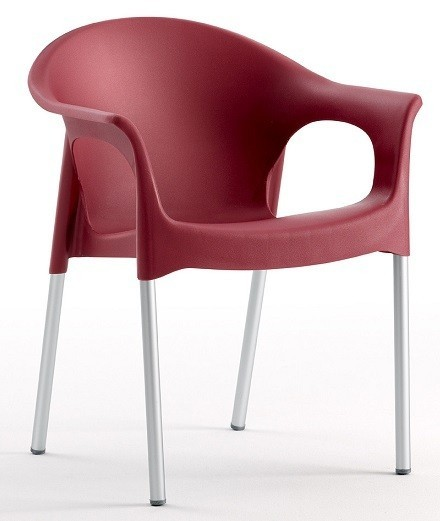 Armchair NILE Aluminum Stackable Polypropylene Bordeaux *
