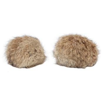 Pompon Made Of Natural Fur (rabbit), D-10cm, 2 Pcs/pack (B Beige)