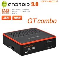 Android TV BOX GTMEDIA GT COMBO DVB-S2X + DVB-T2 H.265 10 Bit Satellite Terrestrischen TV Receiver Decoder, m3U Googel Lager In Spanien