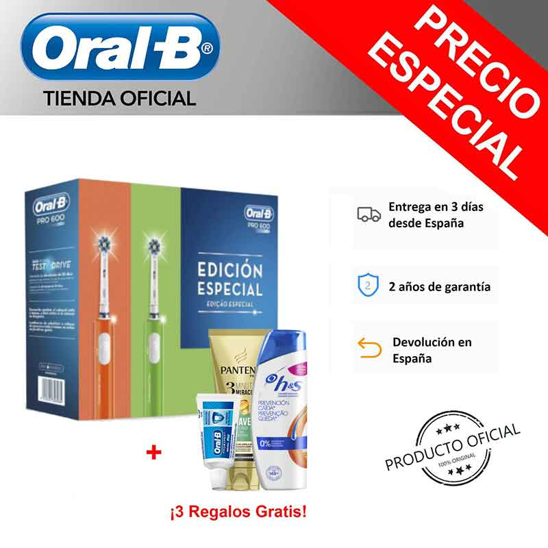 Pack 2 Cepillos Eléctricos Con Tecnología Braun Oral-B PRO 600 CrossAction Box Naranja/Verde + Dentífrico Oral-B Expert 15ml