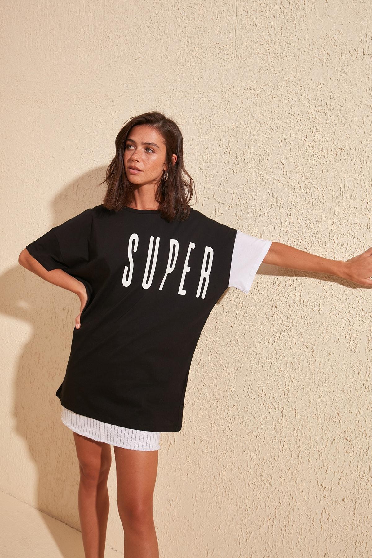 Trendyol Printed Boyfriend Knitted T-Shirt TWOSS20TS0827