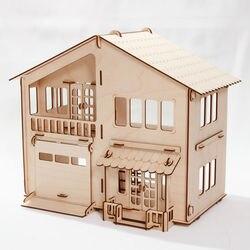 Casa de muñecas de madera contrachapada en miniatura con garaje para casa de muñecas, casa de muñecas, juguetes ecológicos para niños