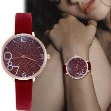 WJ-8571, креативные наручные часы с большим циферблатом, кварцевые часы с кожаным ремешком для женщин, женские классические простые часы