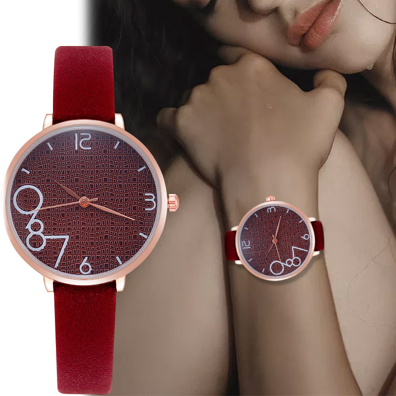 WJ-8571 Creative Dial Big Numerals Wristwatch Quartz Leather Strap Watch For Women Relogio Feminino Classic Simple Watches