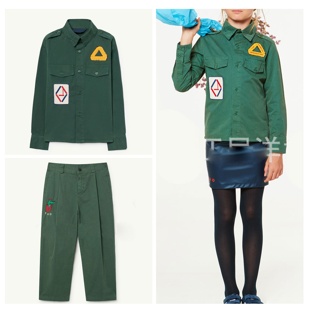 IN STOCK TAO children suit spring and autumn new European and American style wild boys and girls retro fashion shirt pants
