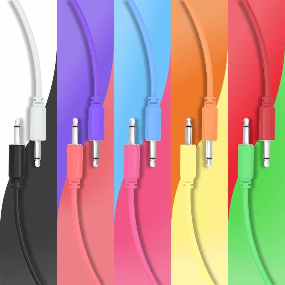 paquete de 5 cables de conexi/ón mono trenzados de 3,5 mm a 3,5 mm para usar con sintetizadores modulares Eurorack Modular Cables de Patch 10 colores // 5 longitudes
