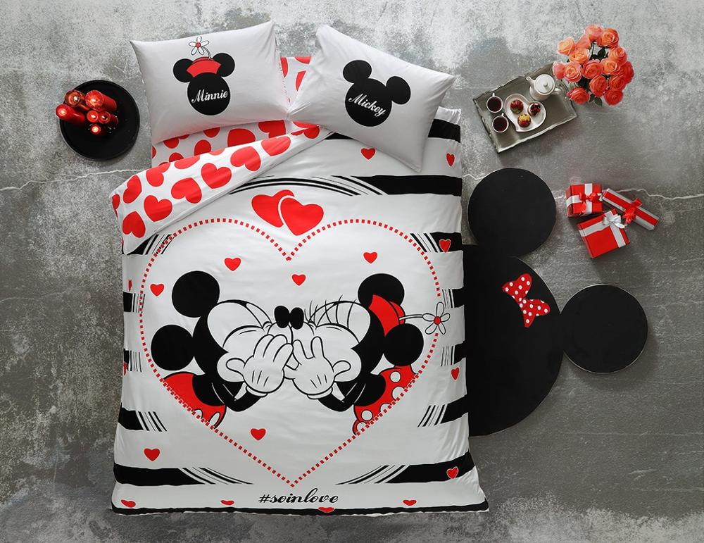 100% Cotton Licensed Disney Mickey & Minnie Amour Double Duvet Bedding Duvet Cover Set, Children,(GLOSSY MODEL IN THE DARK)