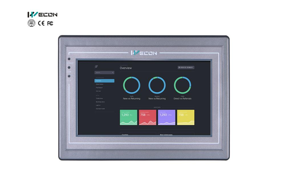 Wecon 7inch PI HMI Most PLCs And Modbus Supported With Remote Control By Android Mobile And Apple App