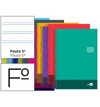 SPIRAL NOTEBOOK LEADERPAPER FOLIO DISCOVER SOFTCOVER 80H 80GSM PATTERN NARROW 2,5MM MARGIN ASSORTED COLORS